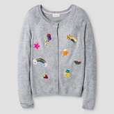 Cat & Jack Girls' Icon Patch Cardigan Cat & Jack - Grey