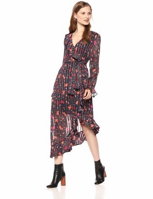 C/Meo Women's Significant Long Sleeve Asymmetrical Floral Wrap Dress