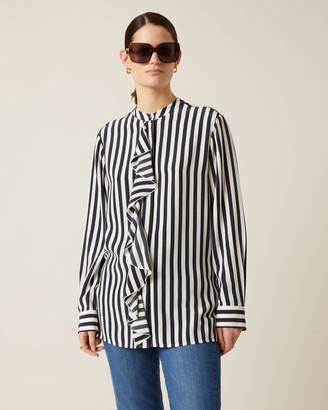 Jigsaw Sailor Stripe Ruffle Shirt