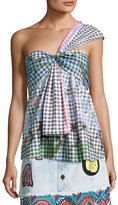 Peter Pilotto One-Shoulder Gingham Top, Multicolor