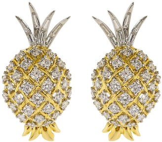 Verdura 18kt Yellow Gold Diamond Pineapple Earrings