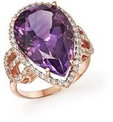 Bloomingdale's Amethyst and Diamond Statement Ring in 14K Rose Gold