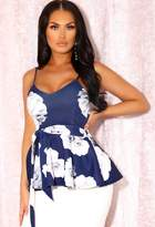 Pink Boutique Adele Navy Floral Peplum Cami Top