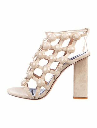 Alexander Wang Suede Beaded Accents Gladiator Sandals