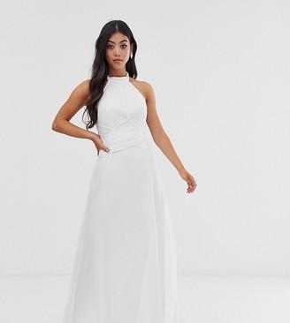 Asos DESIGN Petite maxi dress with high neck and drape waist detail