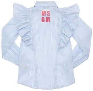 MSGM Striped Cotton Poplin Shirt