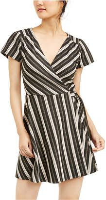 Crystal Doll Juniors' Glitter-Stripe Faux-Wrap Dress