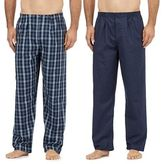 Maine New England Pack Of Two Navy Cotton Checked Pyjama Bottoms