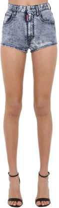 DSQUARED2 High Waist Acid Wash Denim Hot Shorts