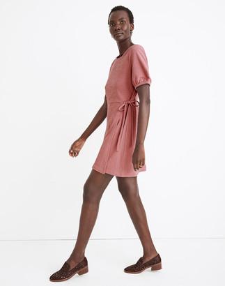 Madewell Crosshatch Puff-Sleeve Faux-Wrap Mini Dress