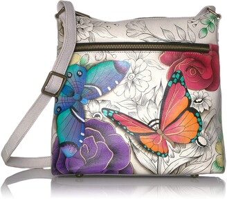 Anuschka Anna by Genuine Hand Painted Leather | Large Crossbody | Floral Paradise