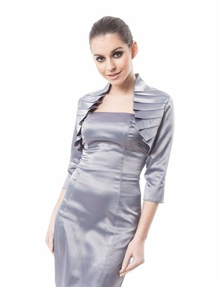 Meibida Female Satin Jacket Wedding Shawl Shrug Shoulder Solid Color Large Size Bride 3/4 Sleeve (Silver 16)
