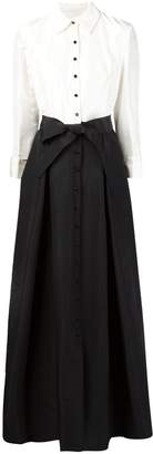 Carolina Herrera two-tone front button gown
