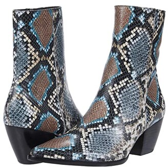 Matisse Caty (Grey/Blue Snake Leather) Women's Zip Boots