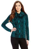 Antonio Melani Zaharah Cowl Neck Printed Jacquard Sweater