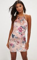 PrettyLittleThing Pink Floral Strappy Low Back Velvet Bodycon Dress