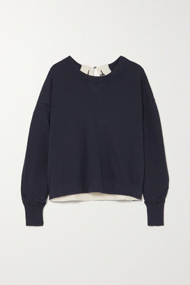 Bassike Buckle-detailed Canvas-trimmed Cotton-jersey Sweatshirt - Navy