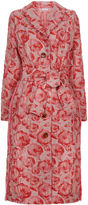 Saks Potts Pink Jacquard Flower Brain Long Coat