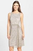Pisarro Nights Sequin & Bead Gathered Mesh Dress (Regular & Petite)