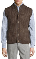 Robert Talbott Button-Front Mock-Neck Vest, Espresso