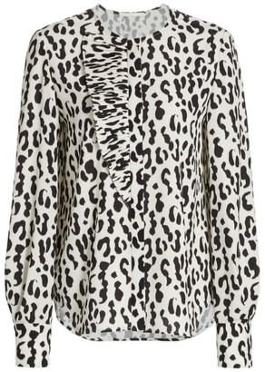 Jason Wu Collection Snow Leopard-Print Crepe Blouse