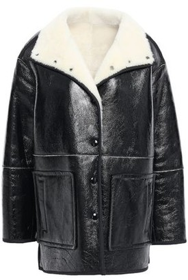 Yves Salomon Shearling-trimmed Crinkled Patent-leather Coat