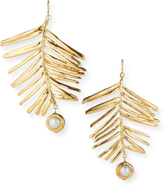 Devon Leigh Large Gold Leaf Pearl and Gold Earrings
