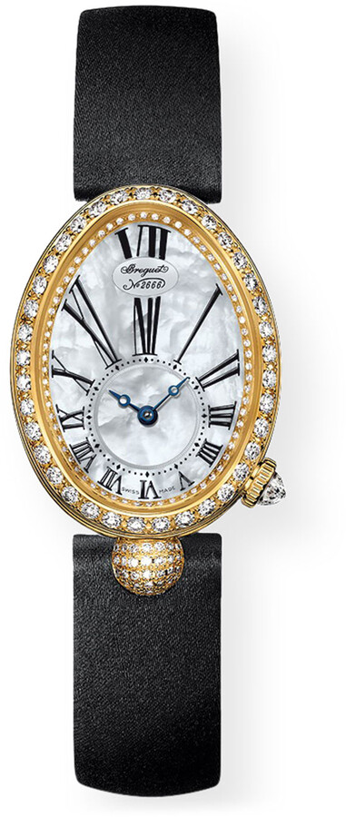 Breguet 18k Yellow Gold Diamond Jewelry Watch w/ Leather Strap