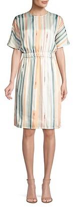 Peserico Multi Watercolor Stripe Dress