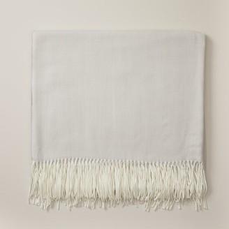Oui Herringbone Super-Soft Throw Blanket Pigeon Gray
