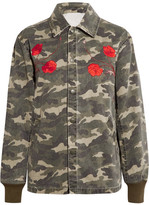 Opening Ceremony Tigers Coach Appliquéd Camouflage-print Cotton-canvas Jacket - Army green