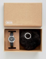 Asos Sleek Watch and Oversized Pom Keychain Set