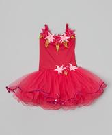 Fuchsia Flower Pearl Skirted Leotard - Toddler & Girls