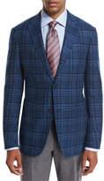 Ermenegildo Zegna Plaid Wool-Cashmere Sport Coat, Teal/Blue