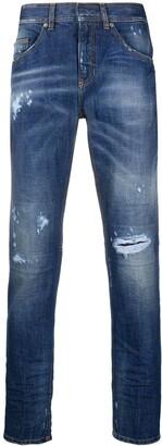 Neil Barrett Ripped Straight-Leg Faded Jeans