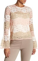 Vertigo Multicolor Floral Lace Bell Sleeve Top