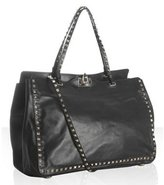 Valentino black leather 'Rockstud' convertible satchel