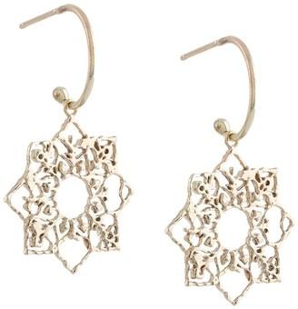 9kt yellow gold Mandala charm hoop earrings