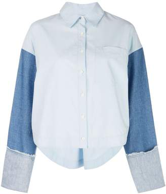 Derek Lam 10 Crosby Cropped Denim Sleeve Button-Down Shirt