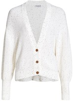 Brunello Cucinelli Ribbed Multi-Sequin V-Neck Cardigan