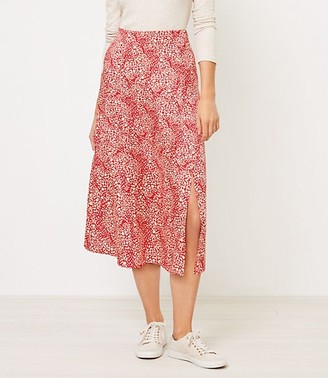 LOFT Animal Spotted Midi Skirt