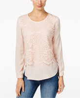 NY Collection Petite Lace Popover Blouse