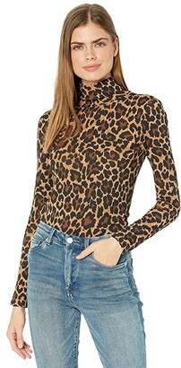 J.Crew Tissue Turtleneck in Leopard Print (Camel/Black) Women's Coat