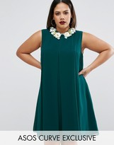 Asos Pleat Swing Dress With Flower Embellished Collar