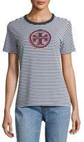 Tory Burch Bria Striped Peruvian Cotton Logo T-Shirt