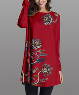 Nanu Women's Tunics Red - Red & Dark Floral Long-Sleeve Tunic - Women & Plus
