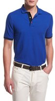 Kiton Short-Sleeve Snap-Placket Pique Polo Shirt, Blue