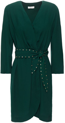 Sandro Belted Crystal-embellished Crepe Mini Wrap Dress