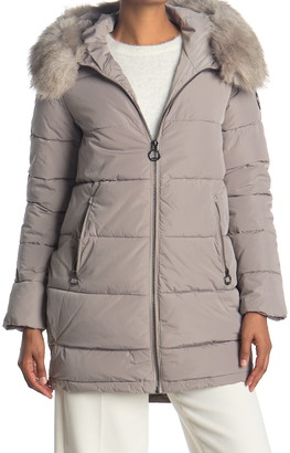 DKNY Zip Front Coat with Faux Fur Hood
