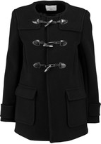 Sandro Makao leather-trimmed wool-blend coat
